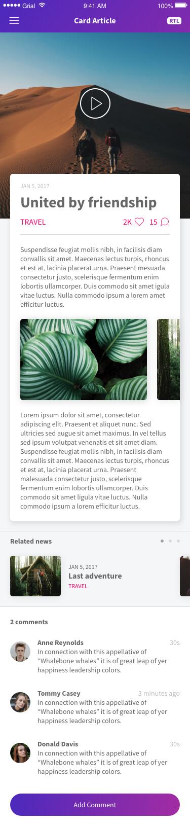Card Article Page Xamarin.Forms XAML