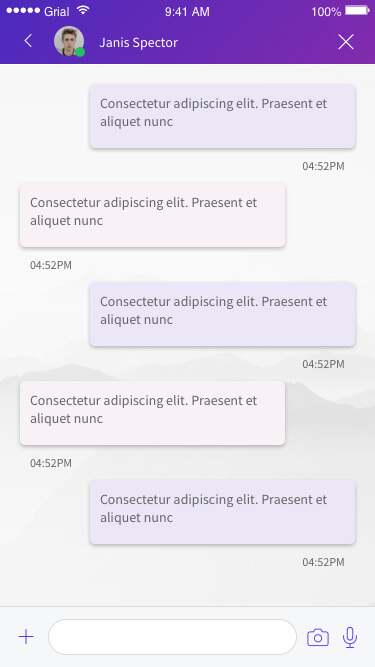 Chat Messages Page Xamarin.Forms XAML