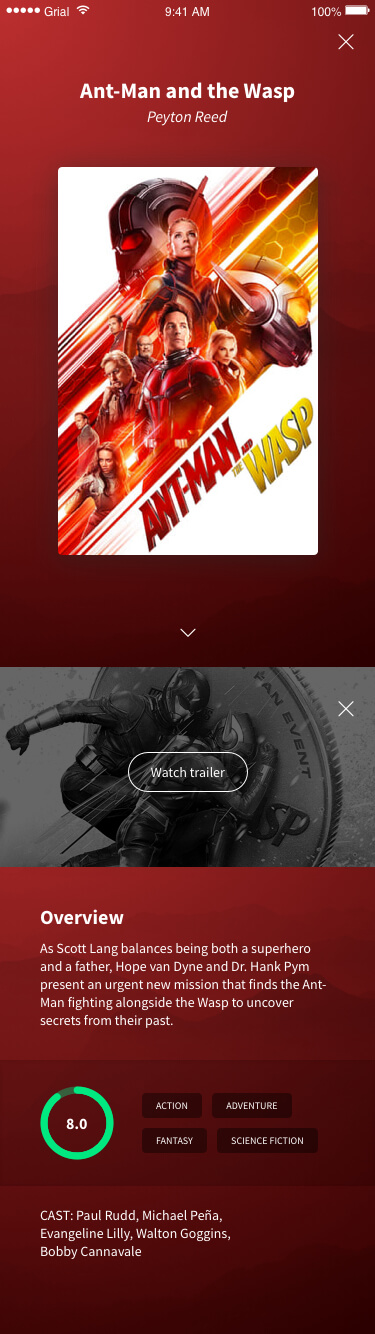 Featured Movies Page Xamarin.Forms XAML