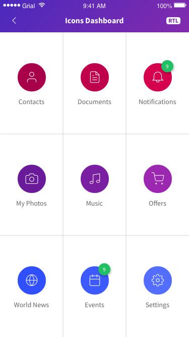 Icons Dashboard Page Xamarin.Forms XAML