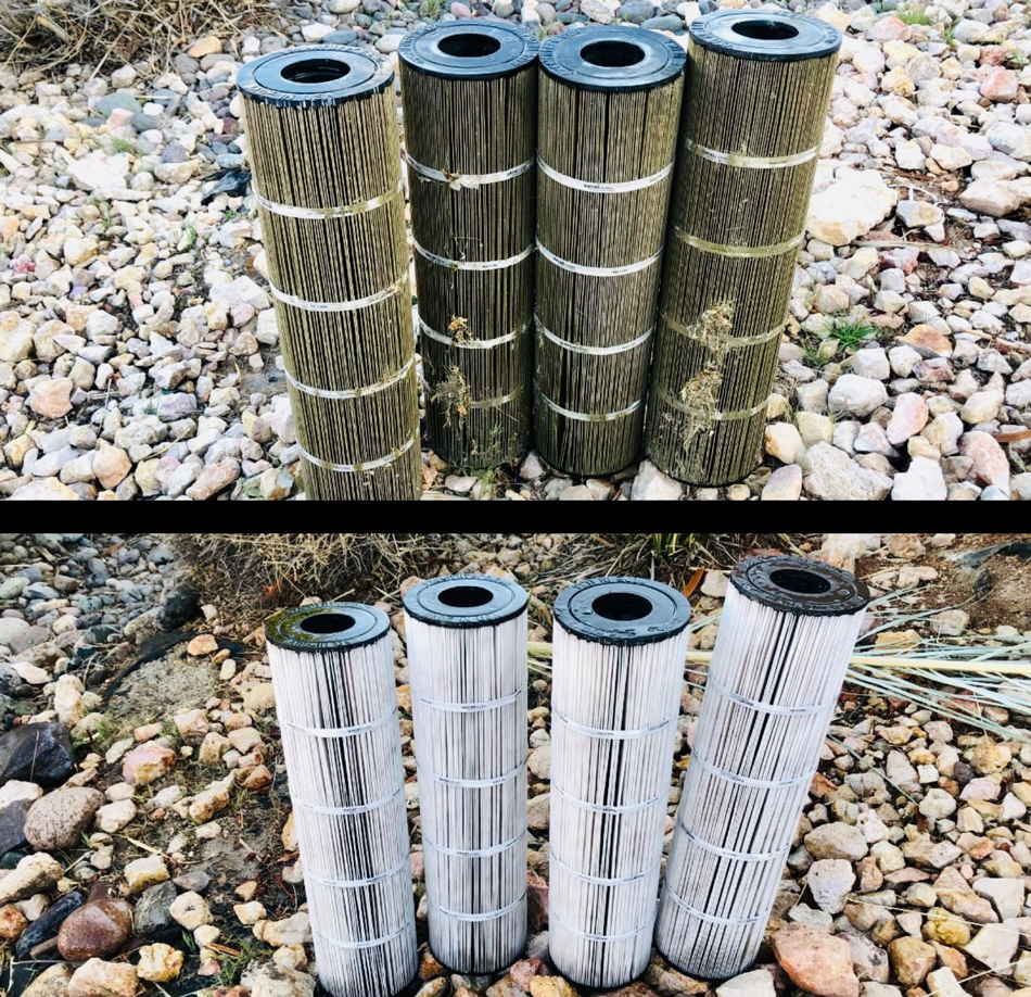 before and after pool filters