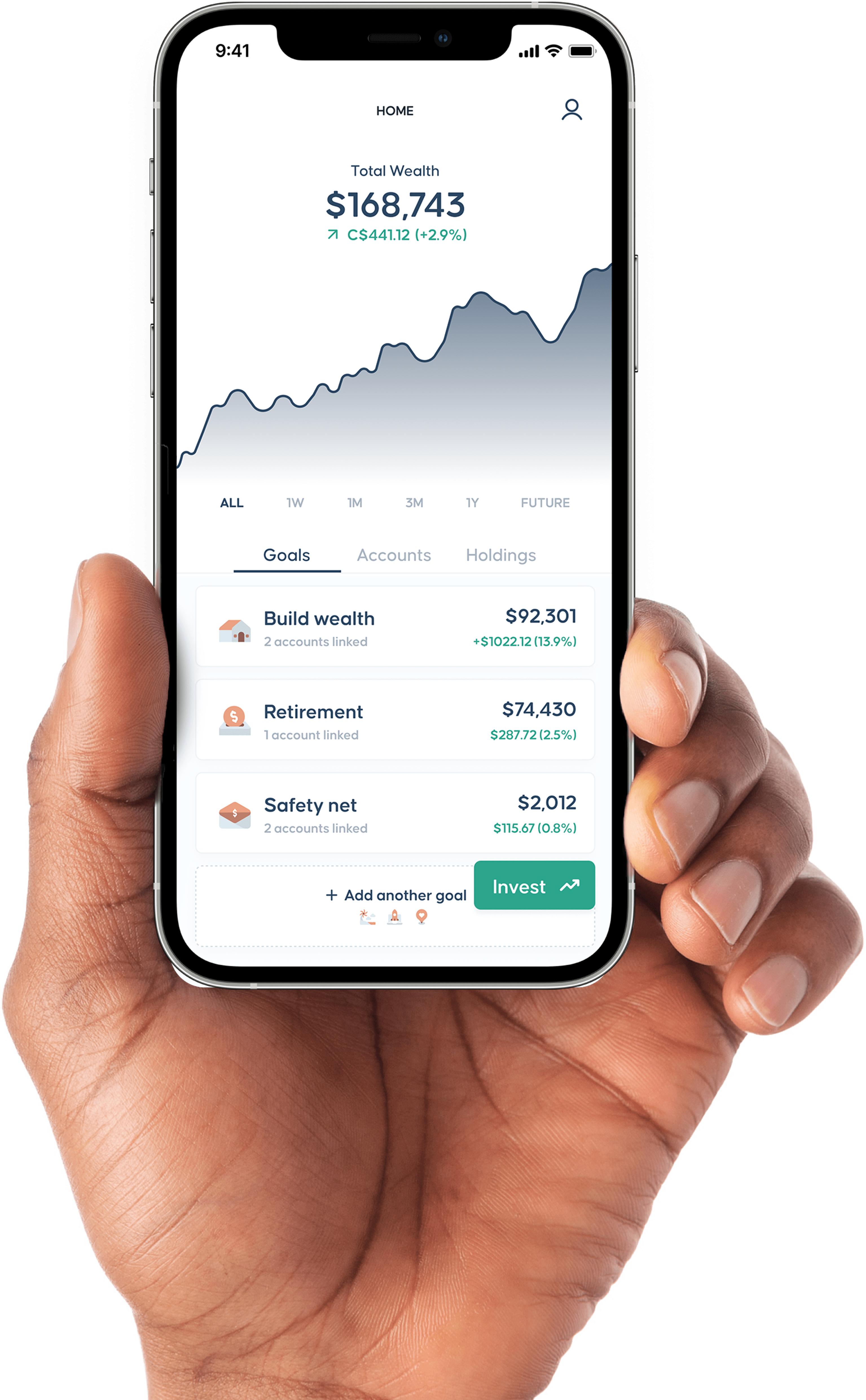 OneVest product screenshot with graphs and goals