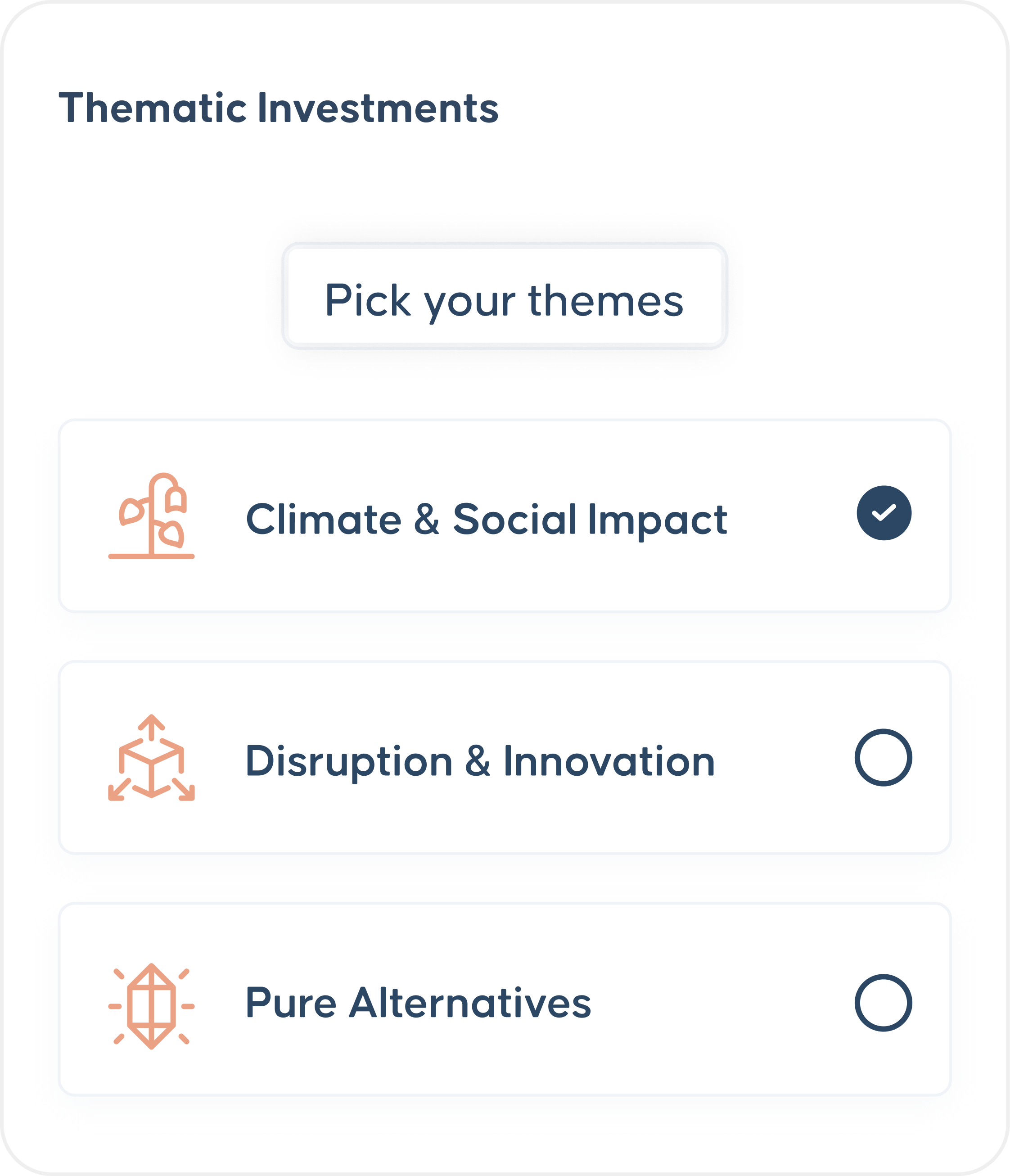Selection screen for several investment types