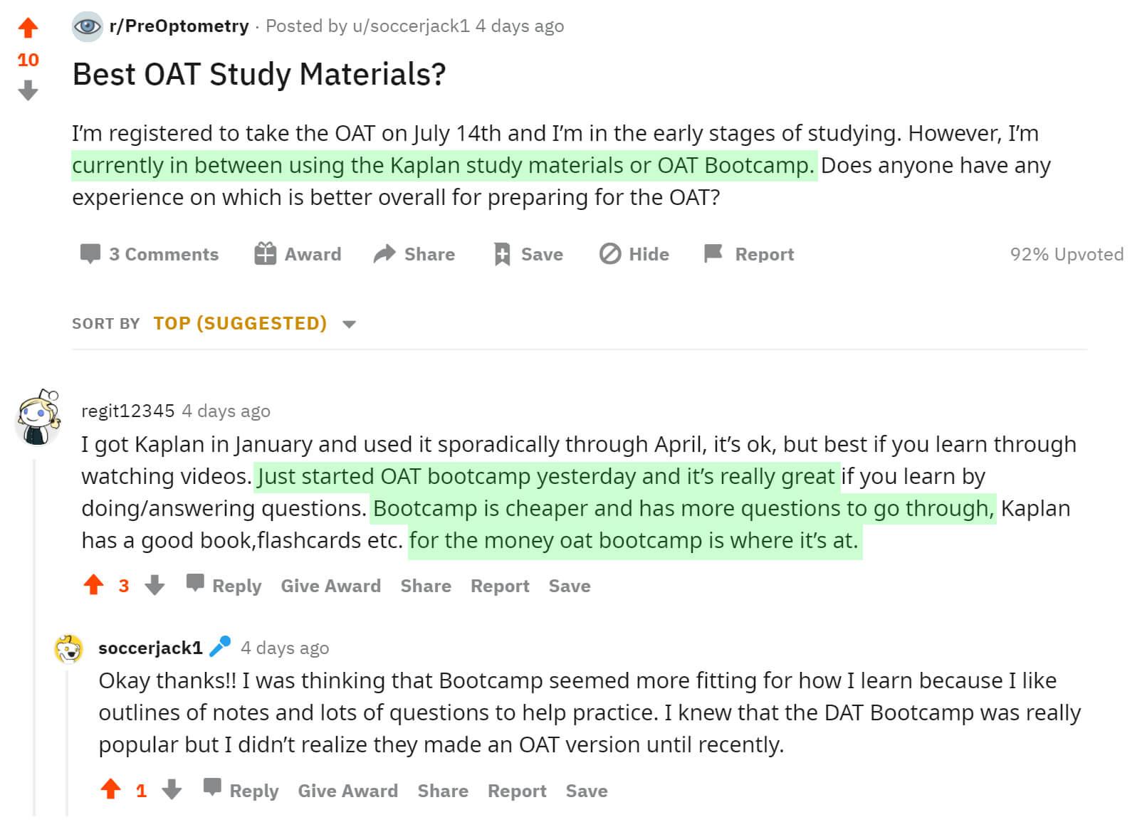 OAT Bootcamp vs. Kaplan