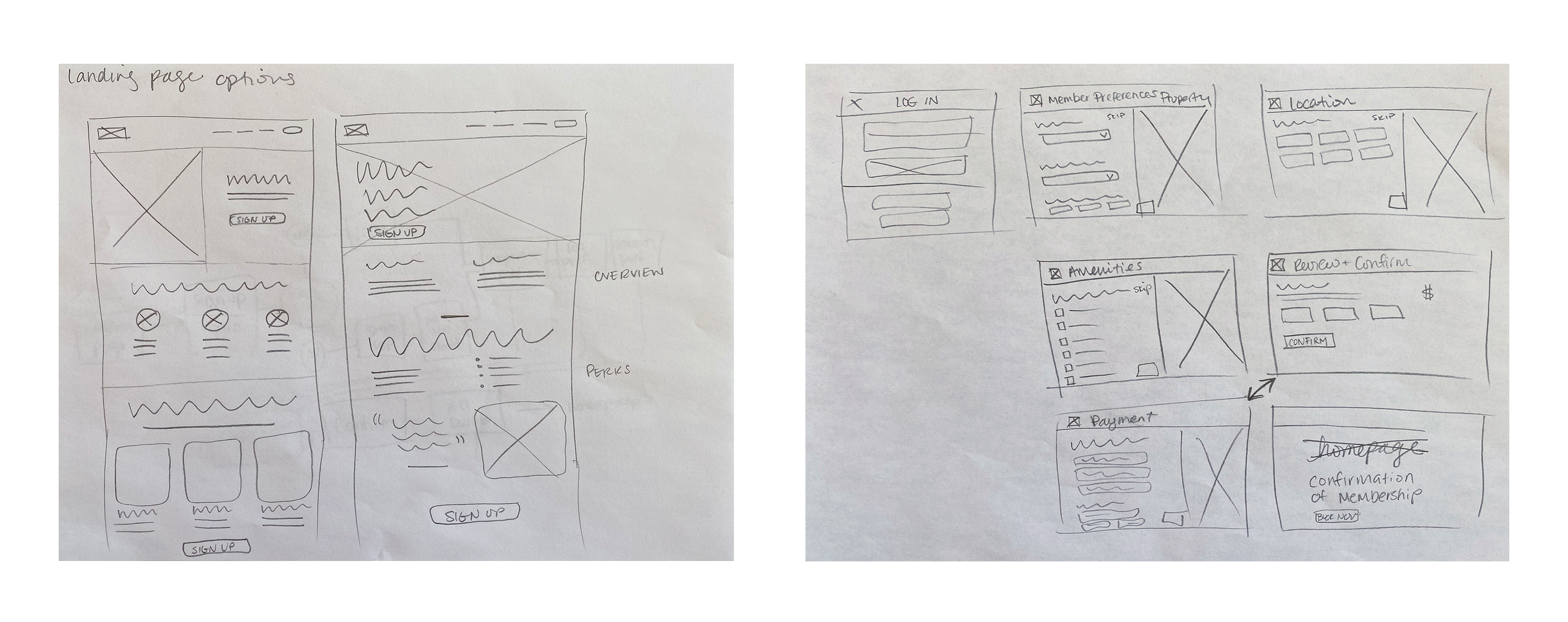 Sketched wireframes of landing pages and preference screens