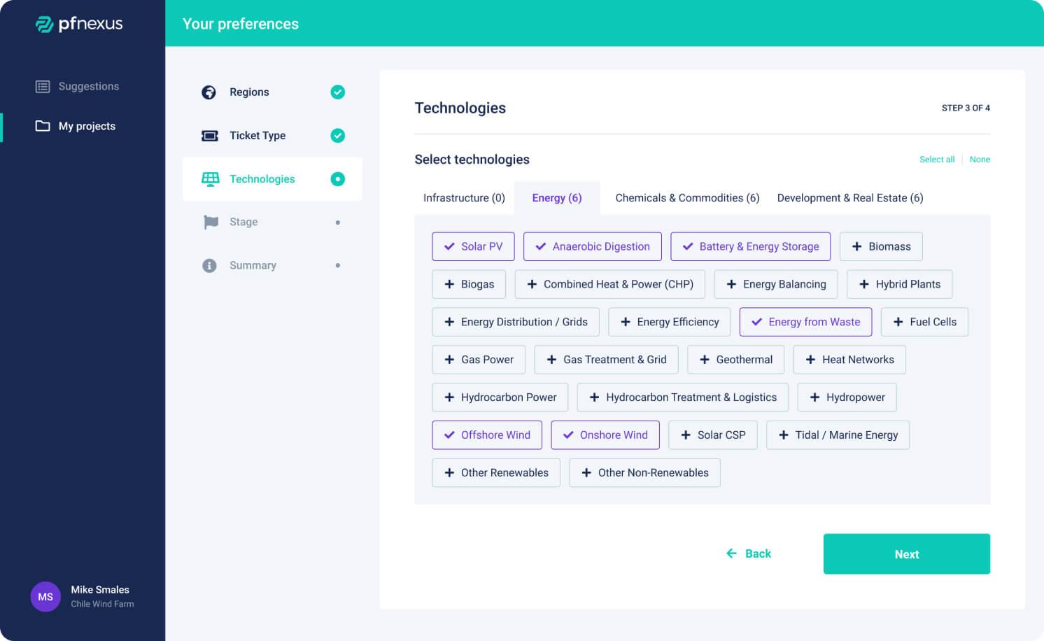 PF Nexus capital preference technologies screen