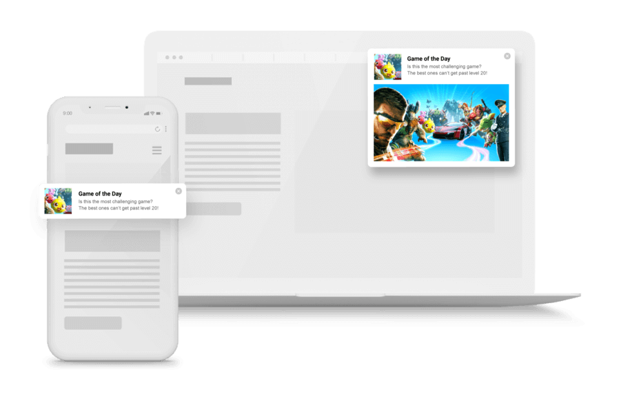 In-page push example desktop and mobile