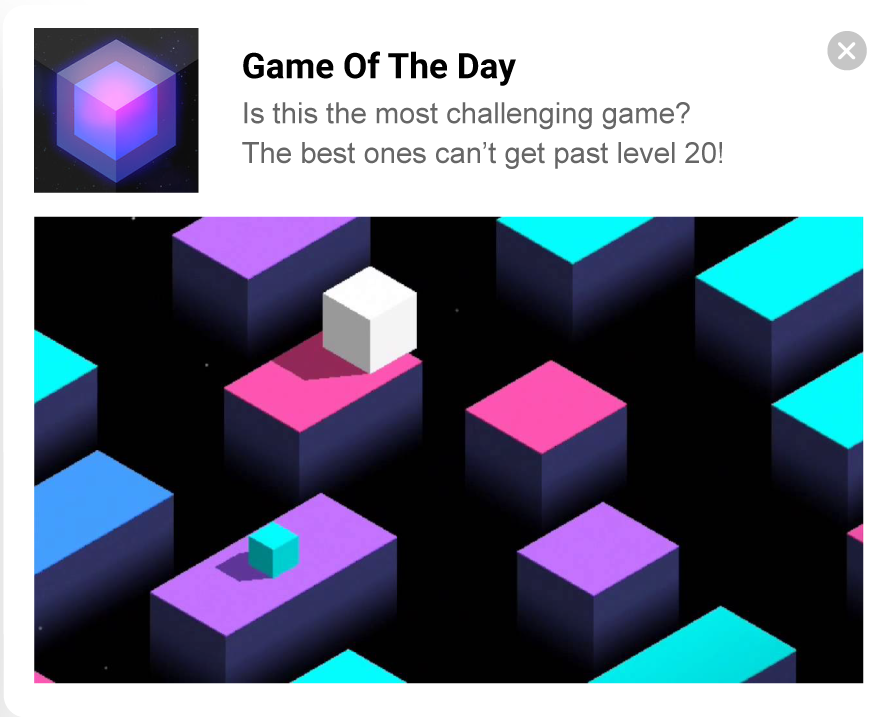 Push ad mobile game example