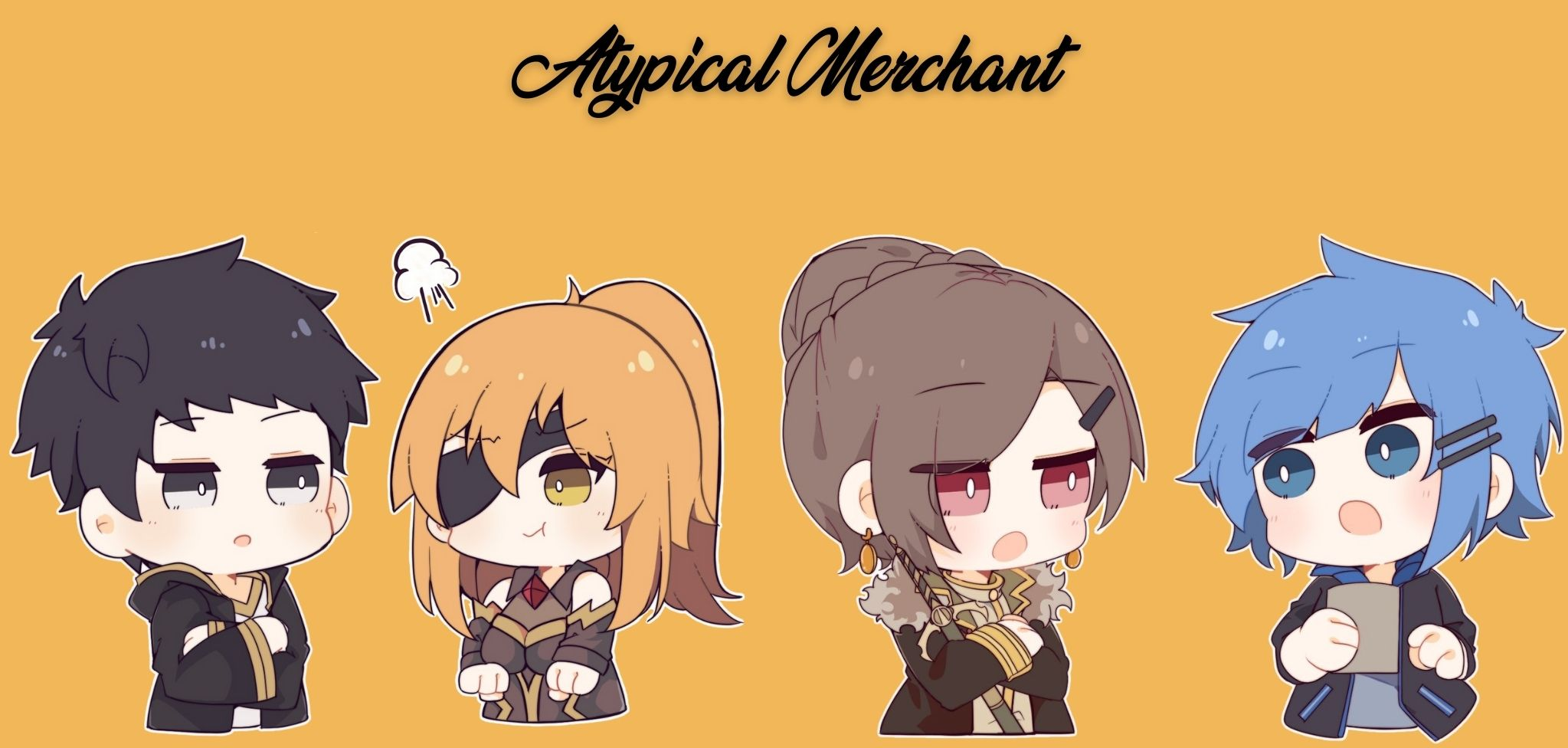 A group image of Atypical Merchant characters in chibi form.