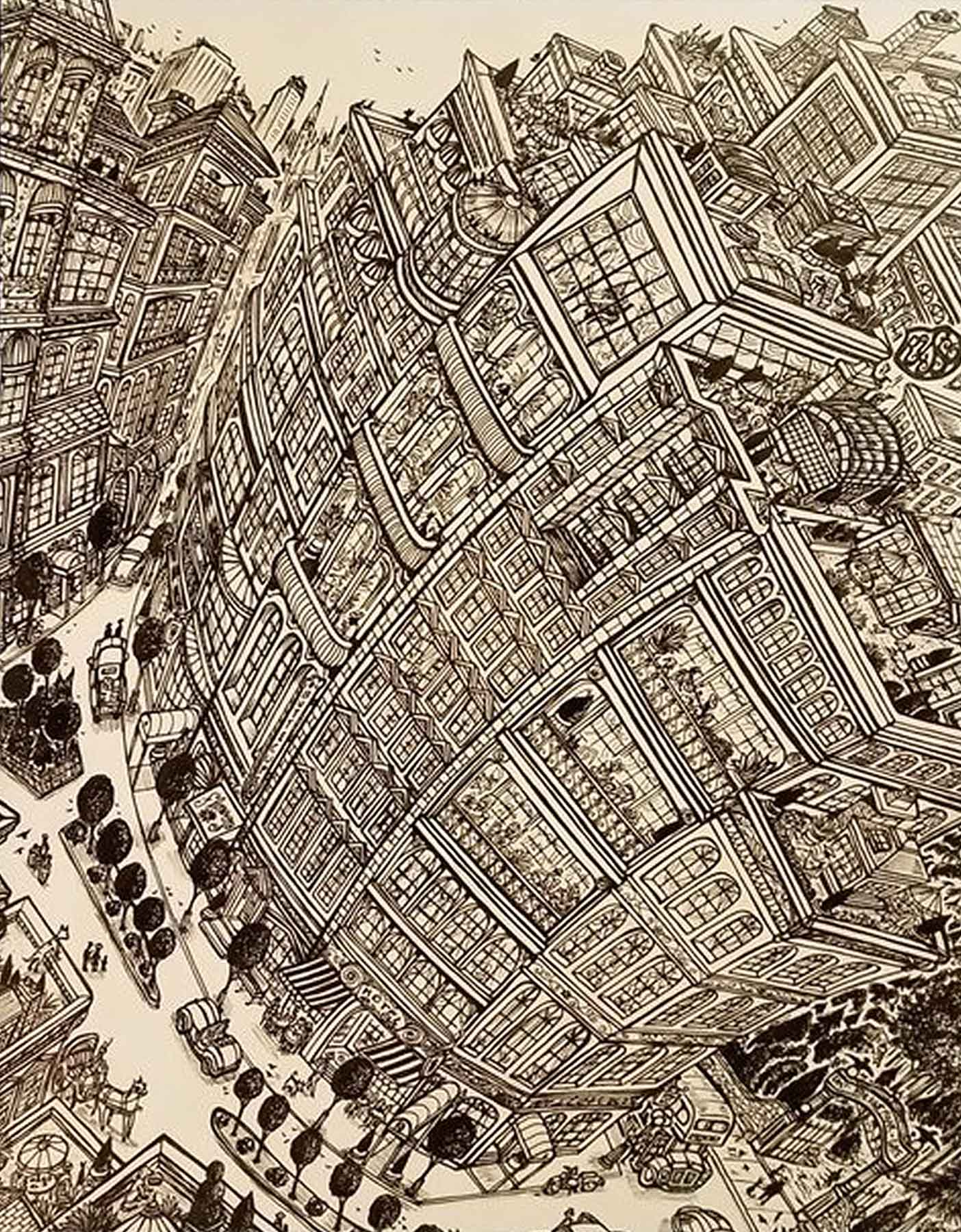 David Russo / Curved City / Pen + Ink Cityscape Series