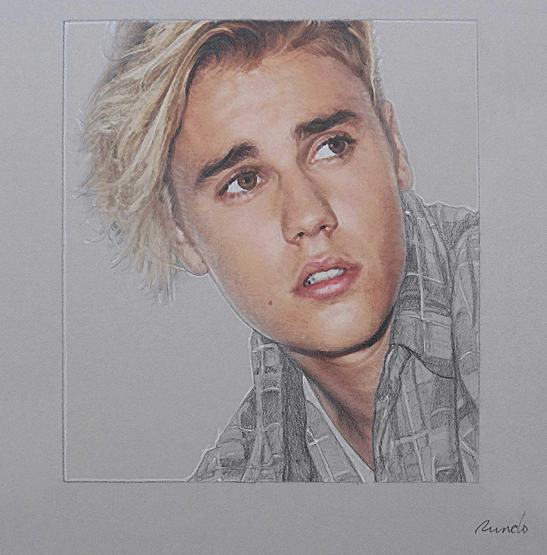 Ron Rundo / Justin Bieber / Pencil, gouache on card