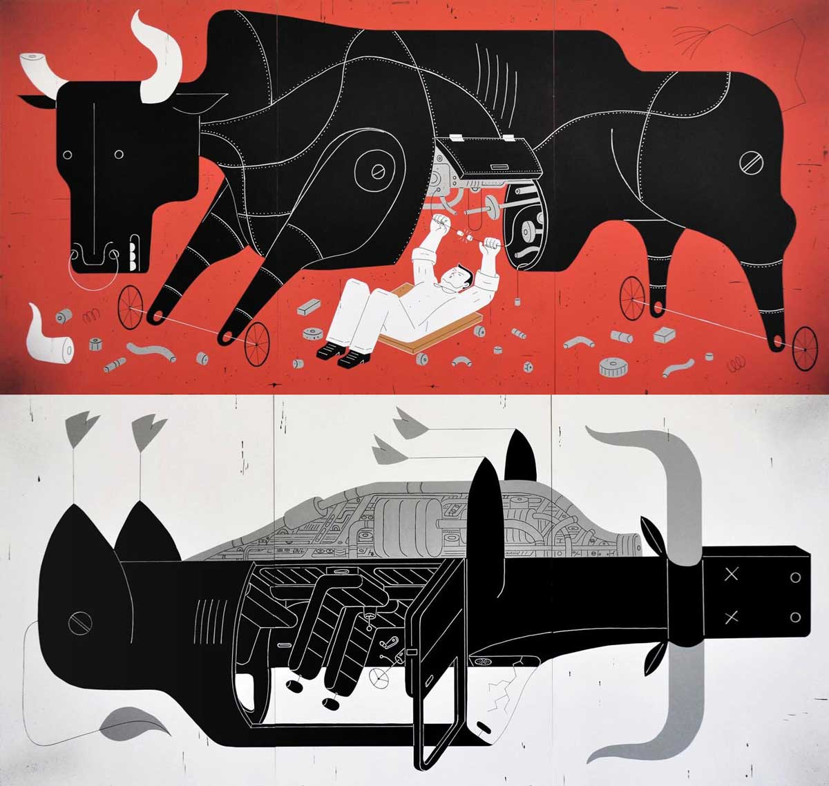 David Plunkert / Bulls on Red and White / Smith Wollensky London