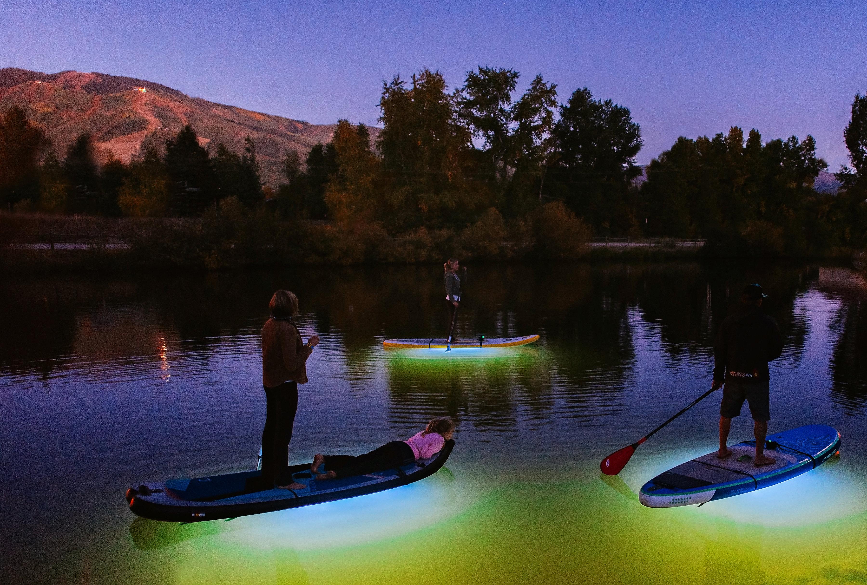 Paddleboard on Pearl Lake at night