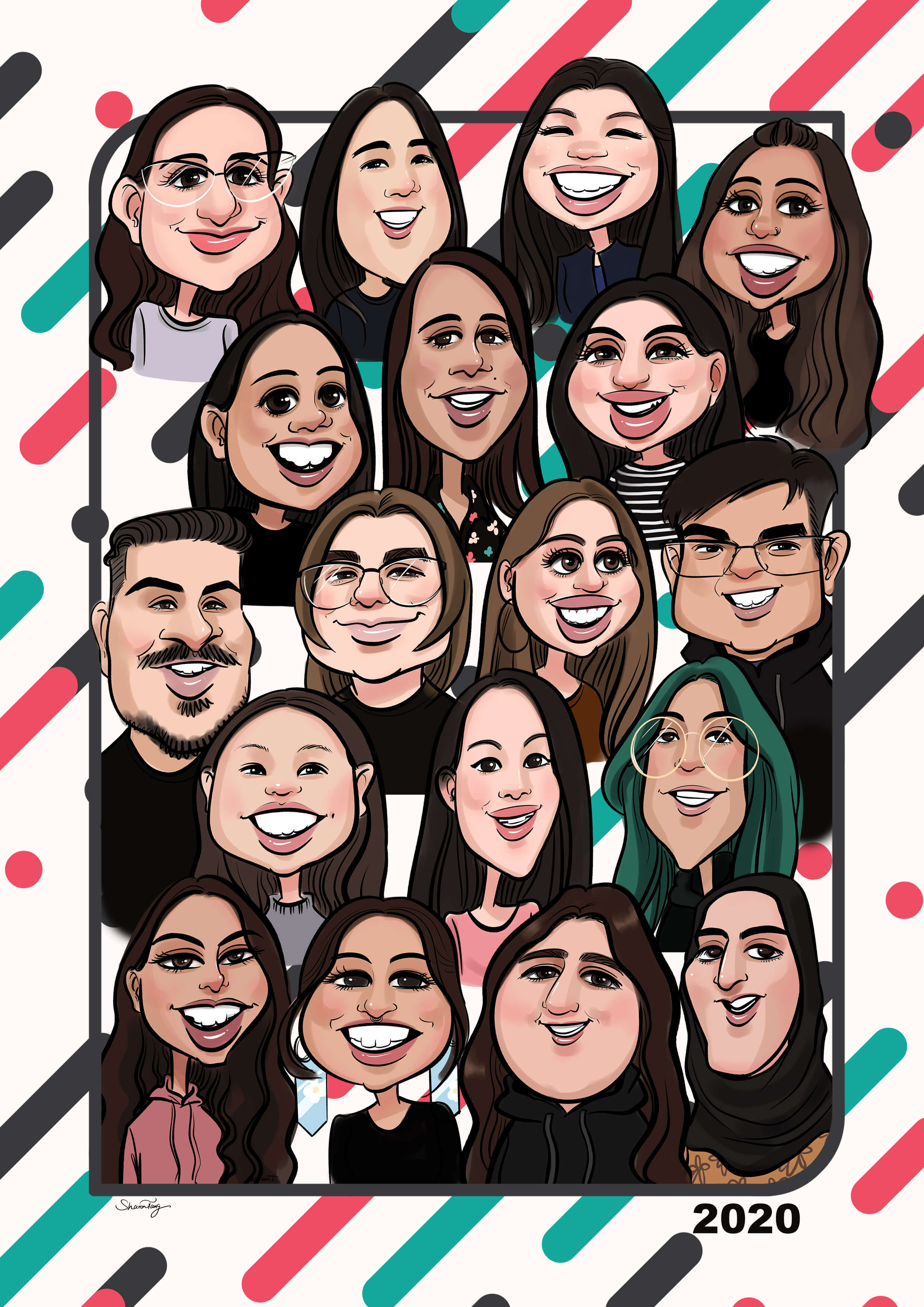 group caricature for farewell party