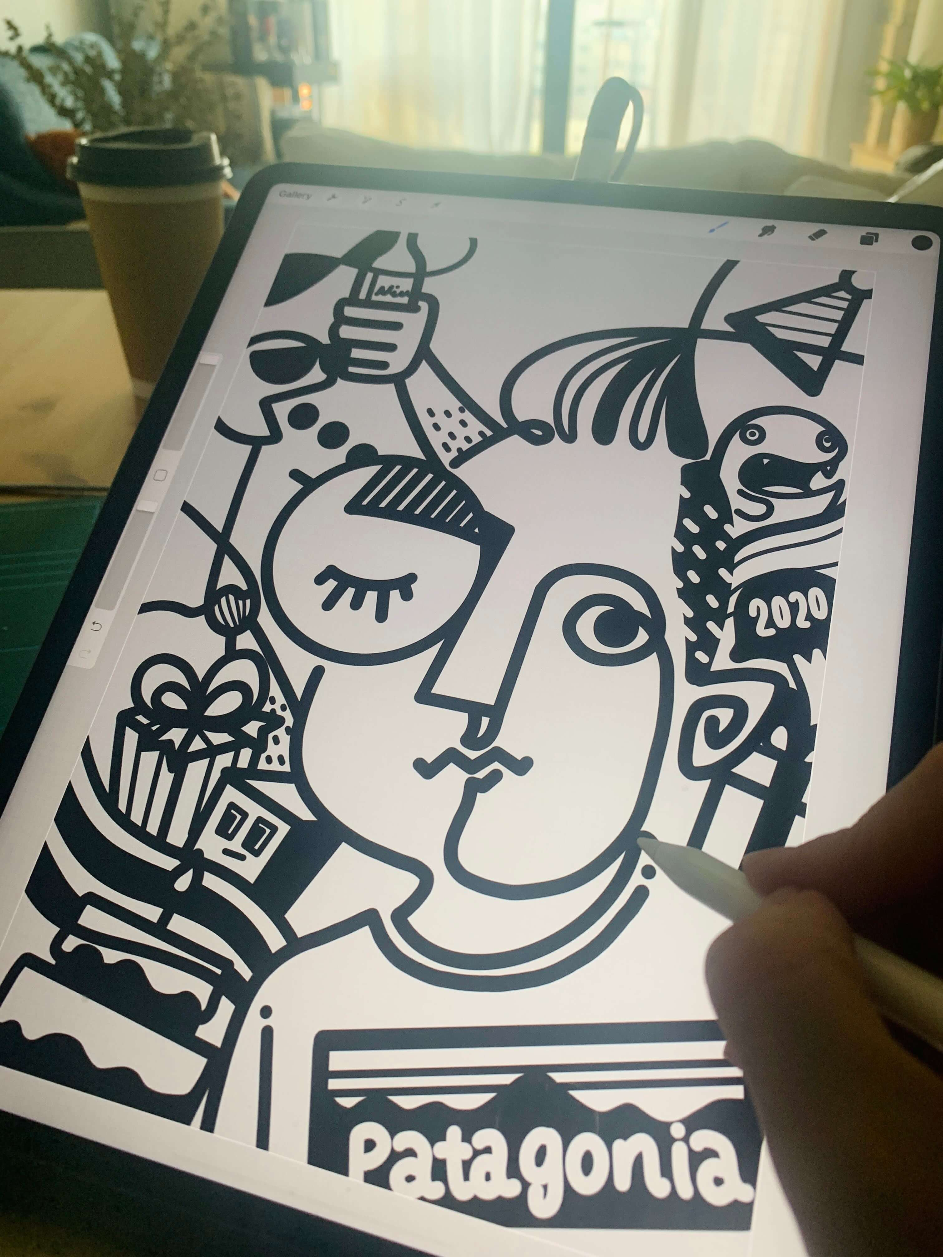 caricature portrait in abstract linework