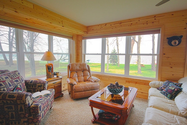 Living room with a great view of Leech Lake where our guests can relax.
