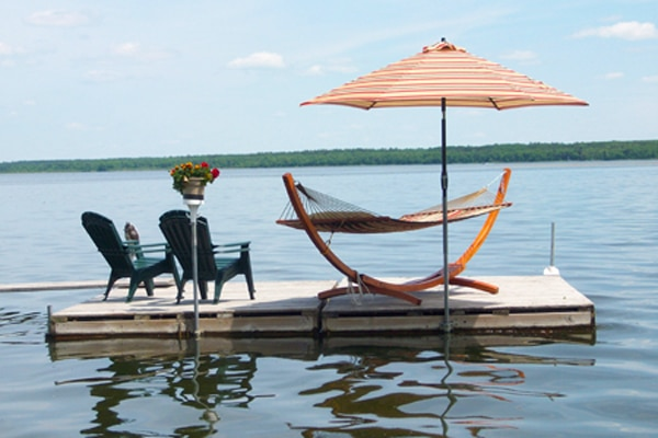 Standalone hammock on the floating island by our dock.
