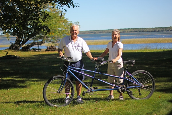 The tandem bike (two-seater) available to guests at the B&B.