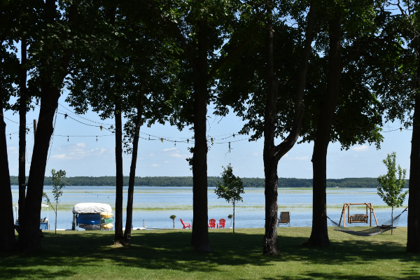 Spectacular view of Leech Lake through mature trees in our park-like front yard