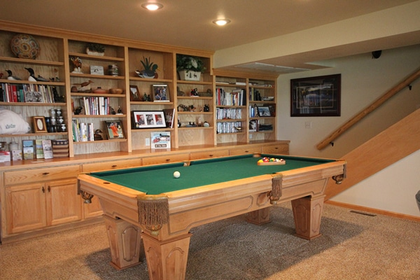 Recreation area and billiards table.