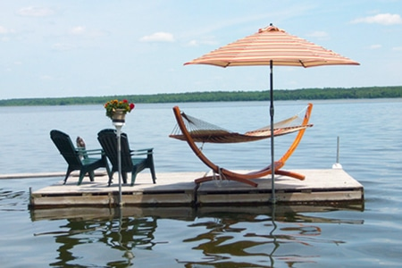 Hammock and chairs on the floating dock island