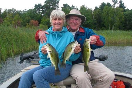 A couple enjoying the awesome fishing on Leech Lake.