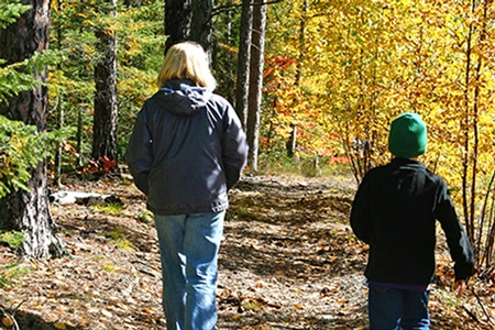 People taking a relaxing walk on a fresh, sunny autumn day.