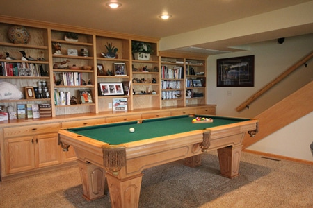 Billiards (pool) table and large collection of books, DVDs and games available to our guests.