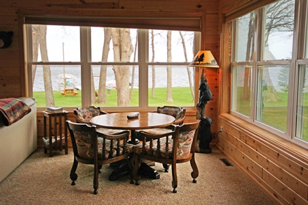 Lakeside dining table with a beautiful view of Leech Lake.