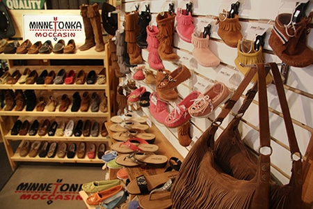 Minnetonka Moccasin display at a local business in Walker, MN
