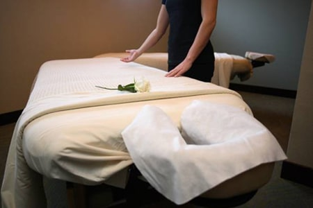 massage table at a nearby spa