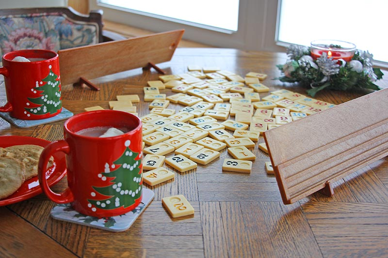 Enjoy a cozy board game with hot cocoa on a cold or blustery day.