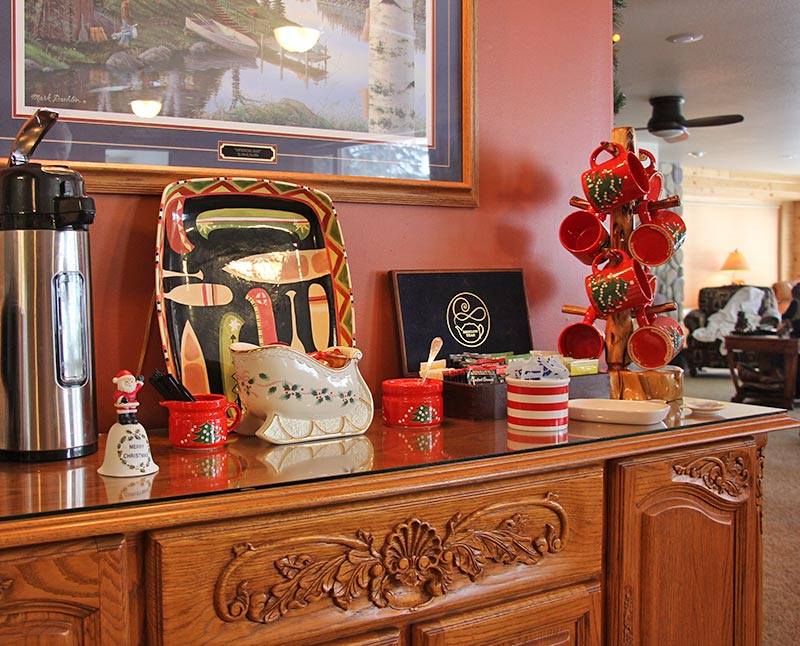 The tea and coffee bar in the common area at the B&B