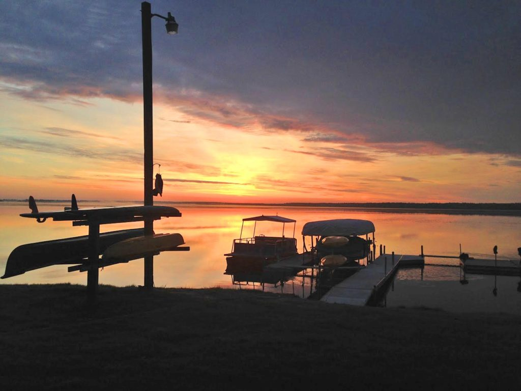 Sunrise over the dock at Leech Lake Resort B&B