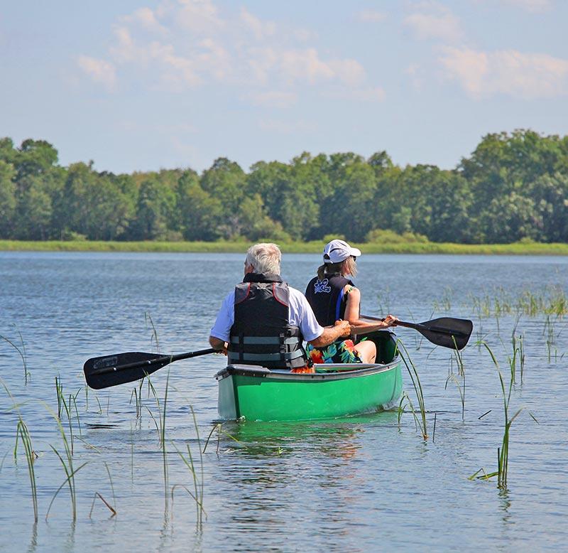 Couple canoeing on Leech Lake
