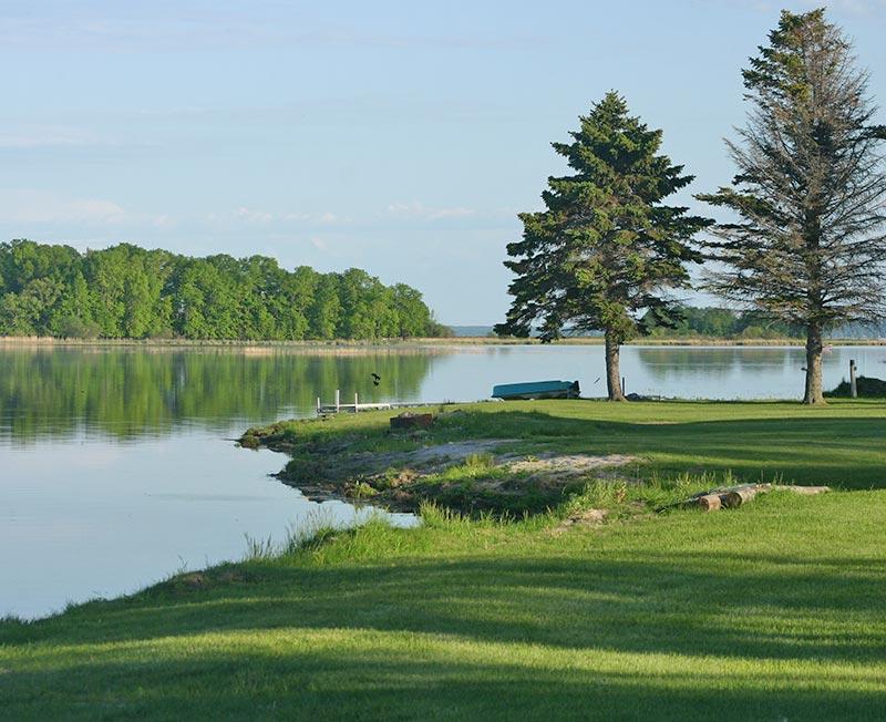 A view of Leech Lake from the park-like yard at Leech Lake Resort B&B