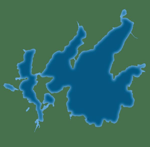 Outline map of Leech Lake near Walker in northern Minnesota