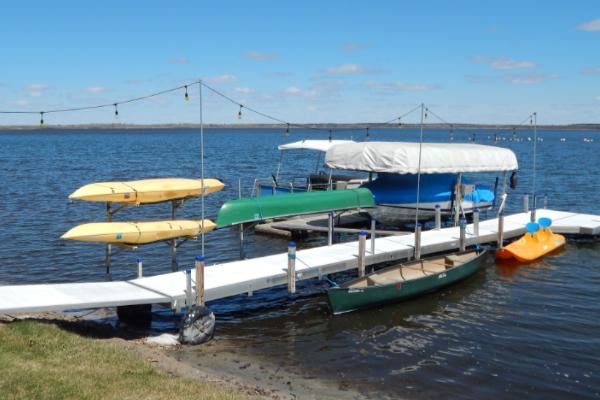 Boats and dock at Leech Lake Resort B&B