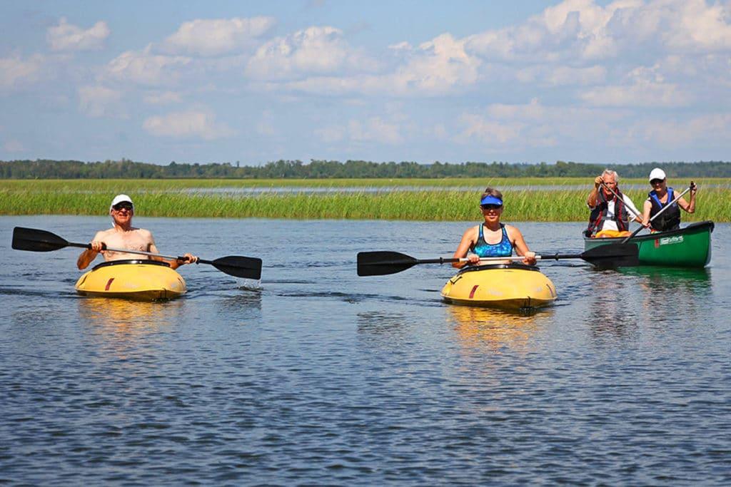 Guests using the canoe and kayaks on Leech Lake
