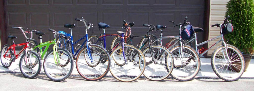 Line-up of bikes available for guests to use at Leech Lake Resort B&B