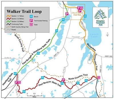 Map of the Walker Trail Loop biking and hiking trail