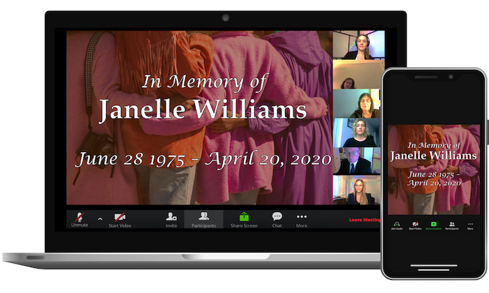 Laptop and iPhone displaying a virtual memorial service