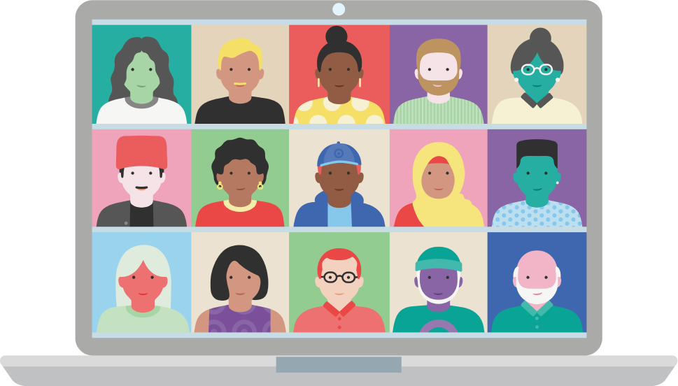 Illustration of people in video conference call
