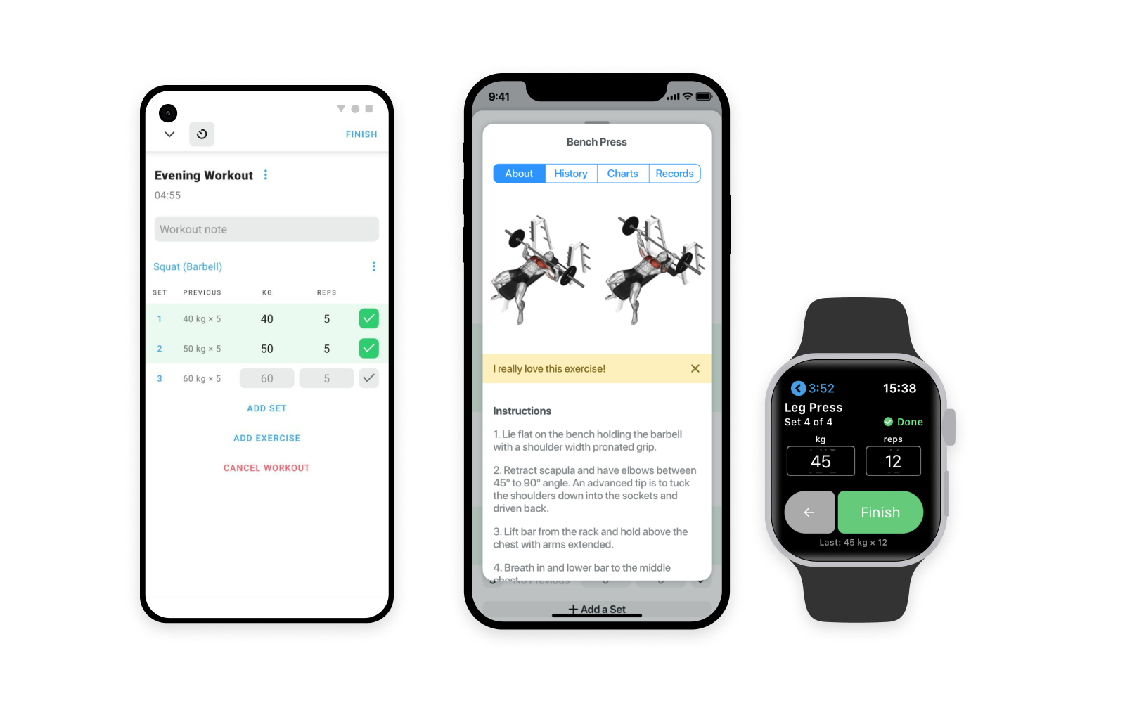 Strong running on Android, iPhone and Apple Watch devices