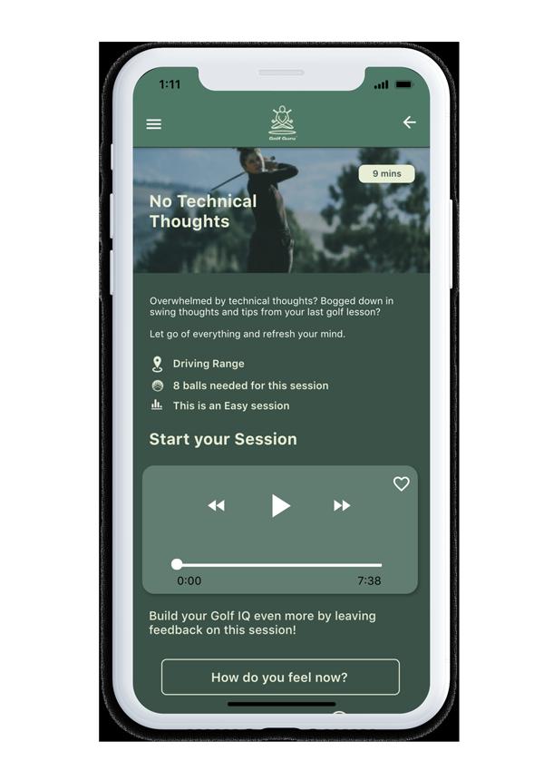 A golf guru session UI