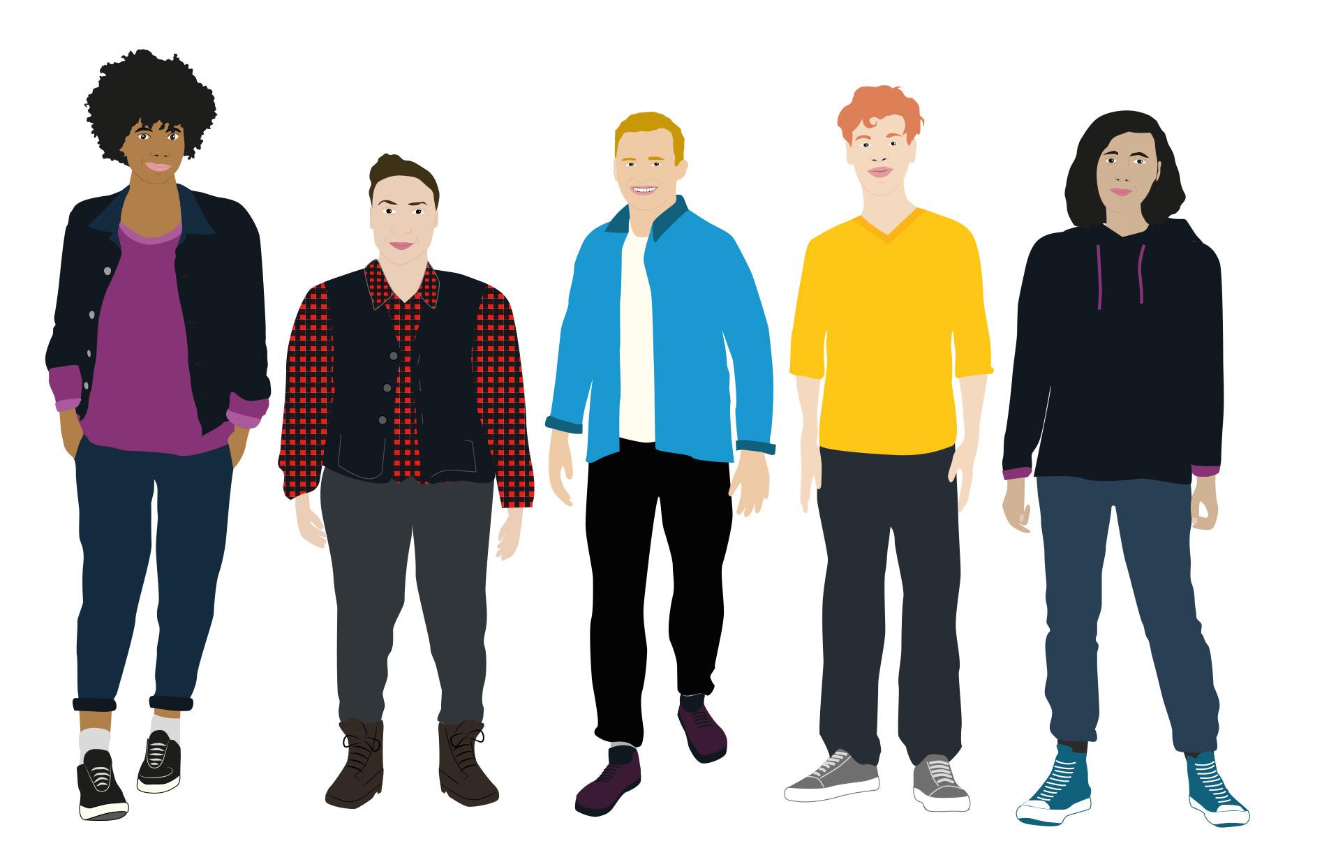 Das Bild zeigt das Team der Fachstelle Queere Jugend NRW und das Team des Projektes Q_munity als Illustration. Zu sehen sind von links nach rechts: Imany Maari, Madeline Doneit, Max Steinbock, Mo Zündorf und H. Yilmaz.