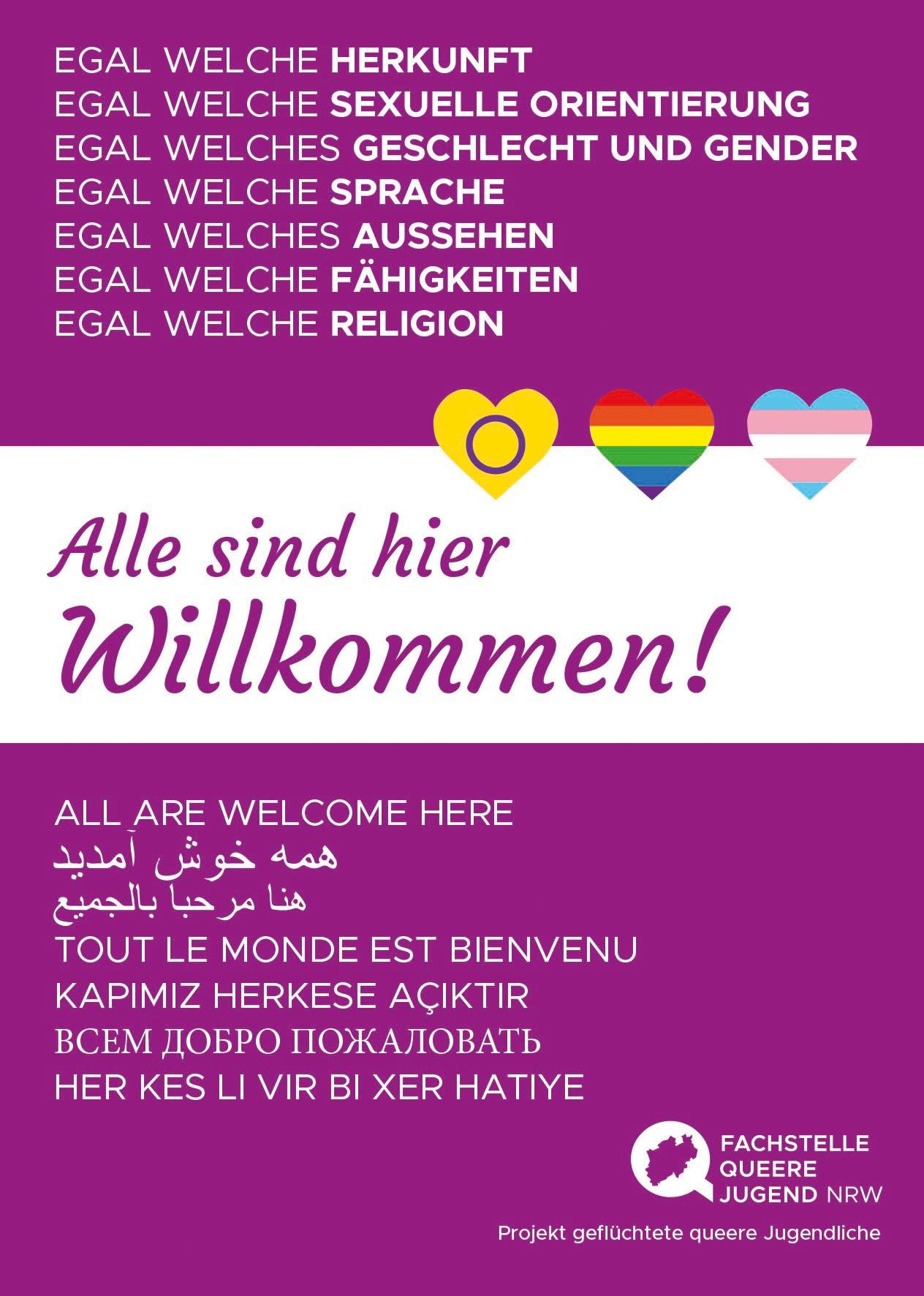 Postkarte: Alle Willkommen!