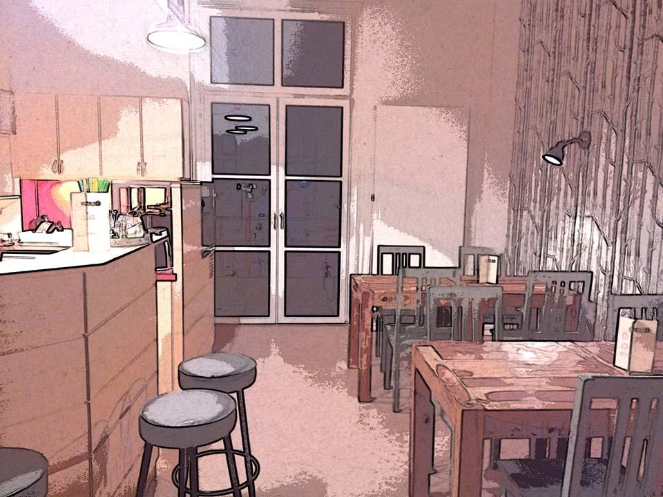 Das Bild zeigt den Küchenbereich mit einer Theke und einem Bereich mit Tischen und Stühlen.