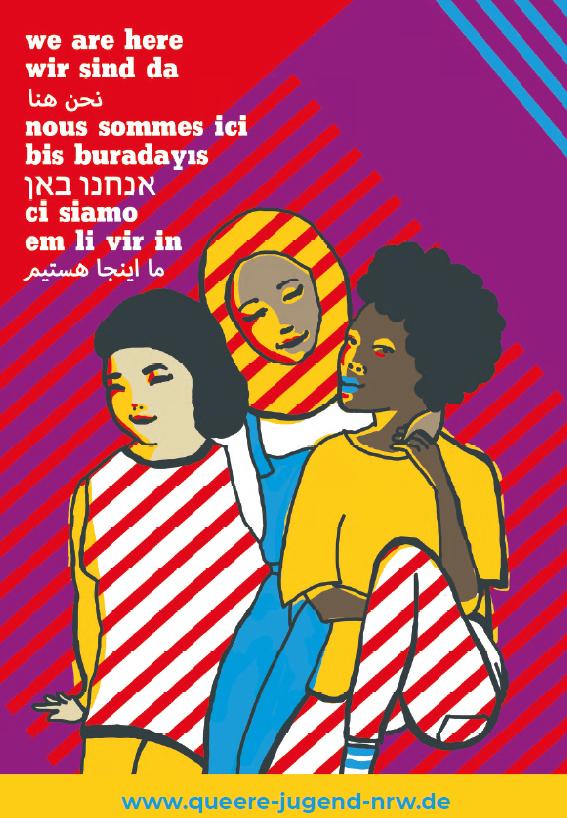 """Auf dem Bild ist ein Plakat zusehen auf dem sich drei gezeichnete Mädchen* befinden neben ihnen stehen die Worte """"em li vir in"""""""