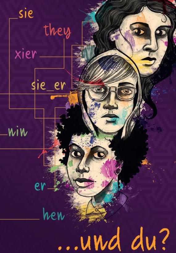 """Das Bild zeigt das """"Pronomen-Plakat"""" darauf befinden sich drei große gemalte Gesichter. Der Hintergrund ist in dunklen Lila gehalten. Links neben den Gesichtern finden sich verschiedene Pronomen z.B. Nin oder Sie_Er"""